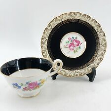 ROYAL STAFFORD & Royal Chelsea  England TEA CUP & SAUCER Set Black & Gold