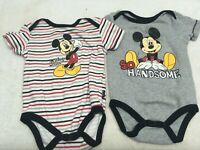 Lot of 2 Disney Baby One Piece Outfit Mickey Mouse 6-9 Months Black Red Handsome