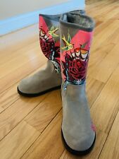 Ed Hardy Bootstrap Boots Shoes Suede Leather Inner Fur Grey/Gray Size 6
