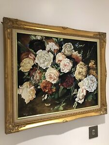 Original Antique Still Life Floral Oil on Canvas Painting In Gold Ornate Frame