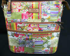 Relic multi-color canvas floral and stripes fabric shoulder bag w camel trim