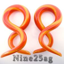 6G FIRE COLOR PYREX GLASS DOUBLE TWISTS PLUGS SPIRALS