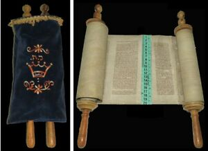 A Small Torah Bible Scroll complete the Book of Numbers Ashkenazi europe 18th