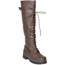 Womens Lace Up Knee High Boots Accented Ankle Chain Combat Boots Zipper Brown