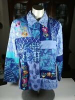 Diane Gilman Embroidered Button Up Shirt Women's  Size S Floral Silk