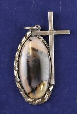 Sterling Silver Cross with Agate Gemstone
