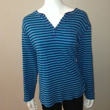 Fashion Bug Knit Tee Size 3X Womens Striped Blue Long Sleeve Top V Neck Henley