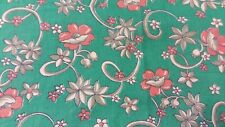 Vintage Green Feedsack PIECES Pink flowers measures 28 x 34 & 14 by 34