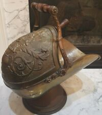 Antique English Made BRASS COAL WOOD HOD SCUTTLE Bucket & Shovel Signed Offering