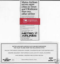 METRO AIRLINES 1975 & 1980 2 AD'S-MORE CITIES IN OKLAHOMA-TEXAS & 200,000 PAX'S