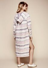 NEW Free People ivory pink purple Nubby Stripe Hooded V Neck Tunic Dress S