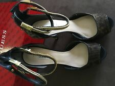 Guess 9M high heel Katrinens 9M NWT $199 black leopard print zip ankle chain