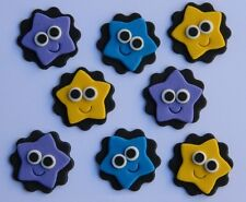 10 edible STARS WITH EYES CUPCAKE topper DECORATION cake DORA cute DISC baby eye
