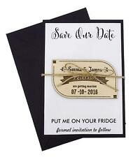 Personalized Cards Engraved Wood Magnet With Envelopes Wedding Annoucement-MG106