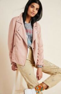 New Anthropologie MARRAKECH RONIKA DRAPED MOTO JACKET size small pink