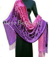 Maya Matazaro Wearable Art Silk Wrap Shawl Scarf Hand Dyed Magenta Purple Velvet