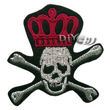 Red Crown White Skull Crossbones Embroidered Iron on Patch ROCK PUNK BIKER