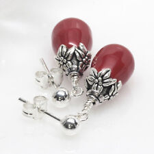 Crystal Pearl SS Stud Earrings, Post, Dangle, Coral, Red