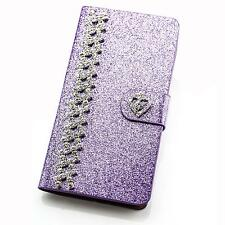 Book Style Glitter Phone Case Flip Cover Pouch Protective Cover Case Rhinestones