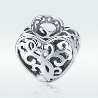 Heart Lock S925 Sterling Silver Hollow Charm Bead For Fashion Bracelet Jewelry