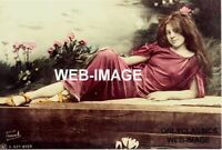 1905 CUTE YOUNG FRENCH GIRL LONG BRUNETTE HAIR ART DECO PHOTO PIN-UP CHEESECAKE