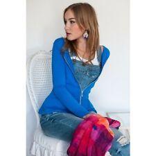 Evy's Tree Womens M Blue Peplum Full Gold Zip Jacket Stretch Pockets Sift New!