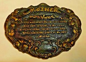 """PLASTER PLAQUE INSPIRATIONAL WALL HANGING HONORING """"MOTHER"""" 10"""" BY 7 1/2"""""""