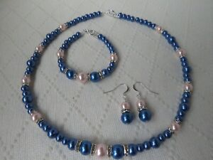 Royal Blue & Baby Pink  Pearl Necklace Bracelet and Earring set