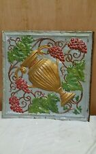 24� x 24� Antique Ceiling Embossed Tin Tile with grapes and urn Rare. (#1)