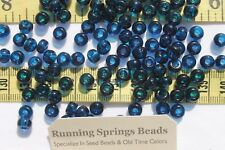 1/0 Seed Beads Glass Transparent Montana Blue Crafts Jewelry Making 6 x 5mm /1oz
