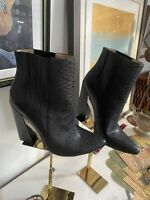 BCBG Max Azria Size 9.5 M Black Leather Booties Block Heels Womens Shoes
