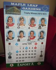 Maple Leaf Gardens Export A Calendar Page April 1974 Yvan Cournoyer Signed