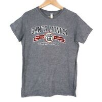 Santa Monica Route 66 America Embroidered Womens Grey T-Shirt Size Small