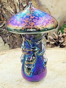 Neo Art Glass handmade iridescent orange mushroom paperweight signed K.Heaton