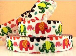 "BTY 7/8"" Scalloped Baby Elephants Grosgrain Ribbon Hair Bows Lisa"