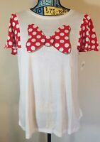 Disney Parks Womens SHORT Sleeve Minnie Mouse Polka Dot Bow Graphic Tshirt NEW