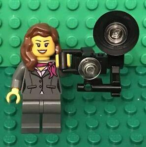 Lego Female Photographer Mini Figure With MOC City Vintage Stock Flash Camera