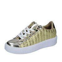 Chaussures Femme LANCETTI 40 Ue Baskets Or Tissu BP557-40