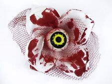 Hairy Scary White and Red Bloody 3D Yellow Eyeball w Red Netting Eyeleen Hair Cl
