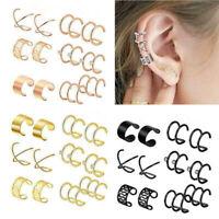 6 Pairs Punk Ear Clip Cuff Wrap Earrings No piercing-Clip On Cartilage Earring