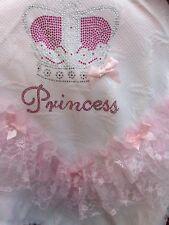 ROMANY BABY GIRL PINK SHAWL - PINK LACE/RIBBON WITH BLING PRINCESS DESIGN