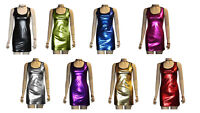 METALLIC SHINY PVC SILVER PINK BLACK GREASE WETLOOK LONG VEST TANK TOP DRESS