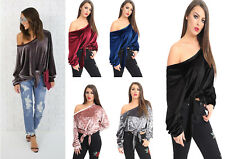 Women Ladies Off Shoulder Velvet Tops Tie Soft Blouse Casual Loose Plain 8-26