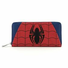 LOUNGEFLY SPIDER MAN WOMEN PRINT ZIP AROUND WALLET PORTABLE FAUX LEATHER
