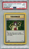 Pokemon Card 1st Edition Erika Holo Gym Heroes Set 16/132, PSA 9 Mint