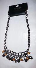 """Lane Bryant Gold and Black Stone Hemitite Necklace One SZ 18"""""""
