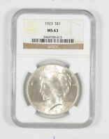 MS63 1923 Peace Silver Dollar  90% Graded NGC - Buy More and Save $$$