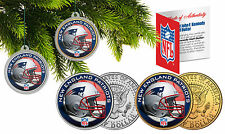 NEW ENGLAND PATRIOTS Christmas Tree Ornaments JFK Half Dollar US 2-Coin Set NFL