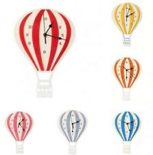 Nordic Style Hot Air Balloon Shape Wall Hanging Clock Wooden Mute Wall Clock