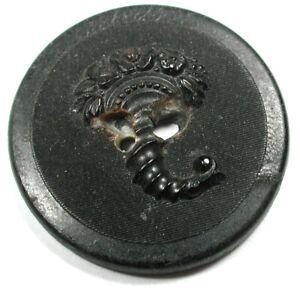 """Antique Horn Sporting Button Flowering Cornucopia Design - 1 & 1/4""""  1890s"""